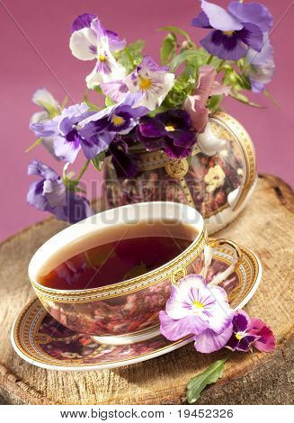 Flowers and a cup of tea