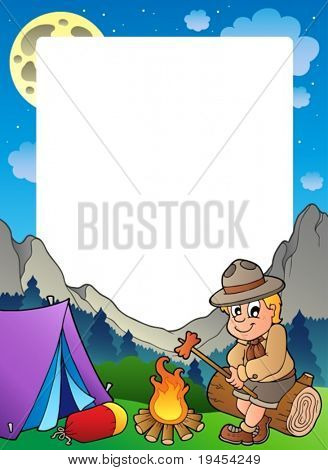 Summer frame with scout theme 3 - vector illustration.