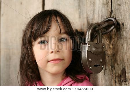 Little girl near forefather's house