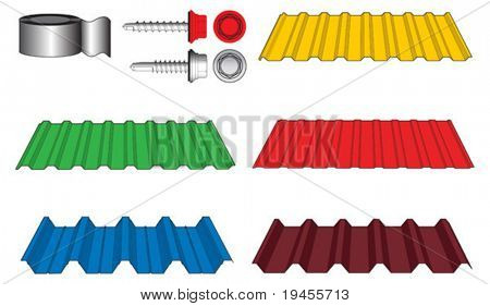 Corrugated metal tiles for roof covering, screws and adhesive tape