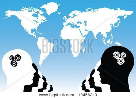 Black and white human heads in the front of world map