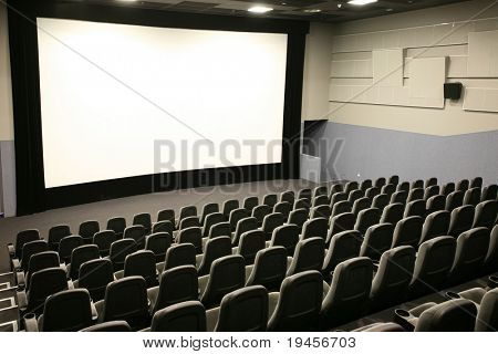 Modern cinema and wide white screen