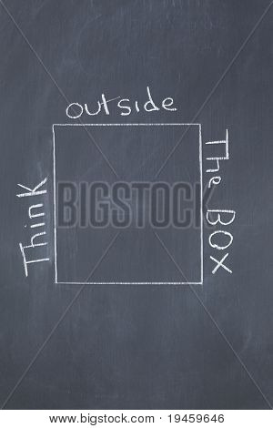 "Words ""think outside the box"" written around a square on a blackboard"