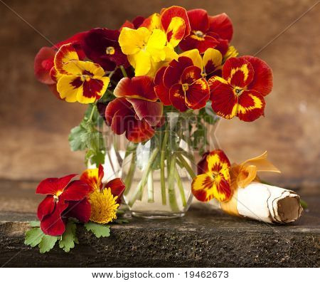 bouquet of spring flowers pansies in a jar of glass