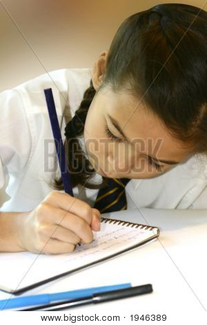 Young Schoolgirl Doing Her Homework