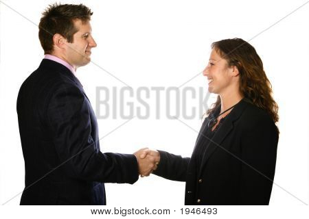 Businessman And Woman Handshake Over White