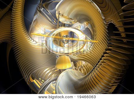 yellow rings in space (abstract) 02