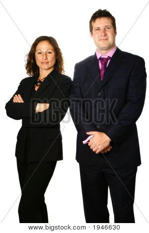 Businessman And Woman Standing