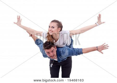 Couple Flying Together