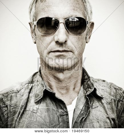 Mature man wearing sunglasses