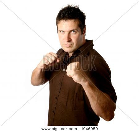 Young Man Ready For Fist Fight