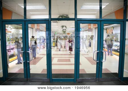 The Entrance Into The Supermarket