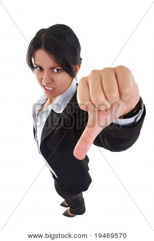Woman Gesturing Thumbs Down