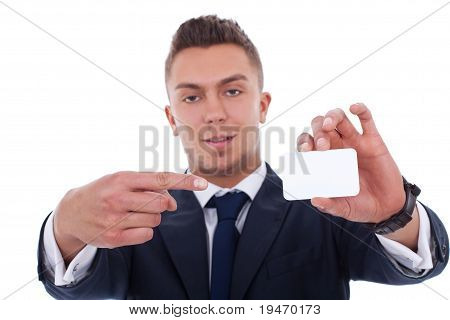 Business Man Showing A Card