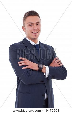 Business Man Stand With Crossed Hands
