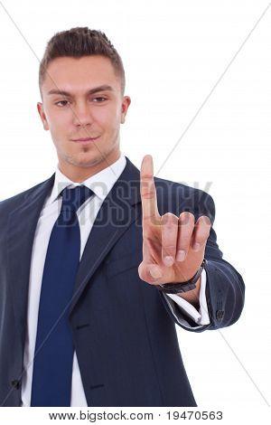 Business Man Pressing An Imaginary Button