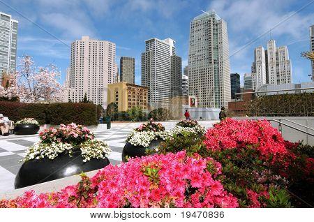Coloridas flores en el centro de Yerba Buena, San Francisco