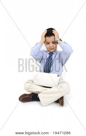 Concept of unhappy little businessman with his laptop