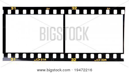 High resolution white background macro studio image of a blank 35mm slide film on lightbox