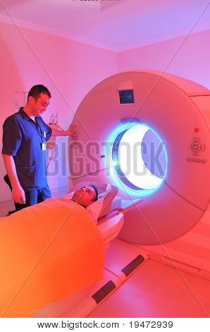 Magnetic Resonance Imaging machine-a series of dramatically lightened MRI.