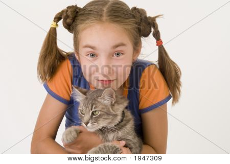 Girl With A Cat Iv