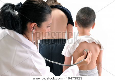 Doctor pediatrician examines little child using stethoscope while his sister waiting for her term - MEDICAL IMAGES.