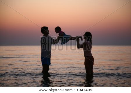 Family And Sunset