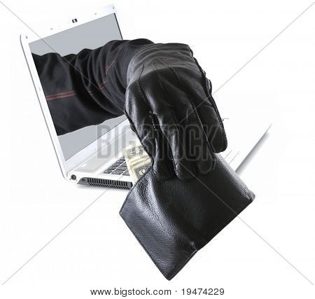 Thief coming out of computer to take wallet  concept.