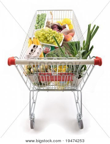 Shopping trolley full of grocery - a series of SHOPPING TROLLEY images.