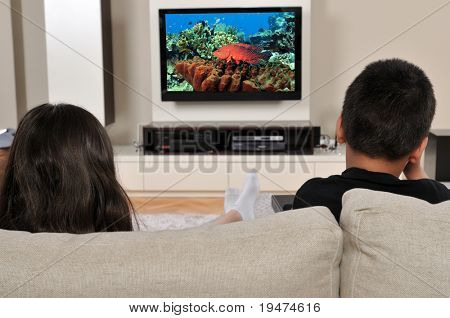 Two kids on couch watching TV, having a great time - a series of WATCHING TV images.