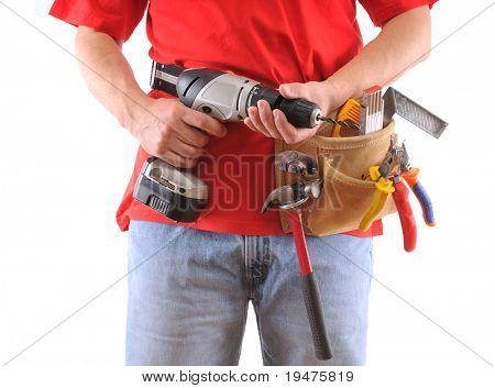 Manual worker with battery drill isolated on white background - a series of MANUAL WORKER images.