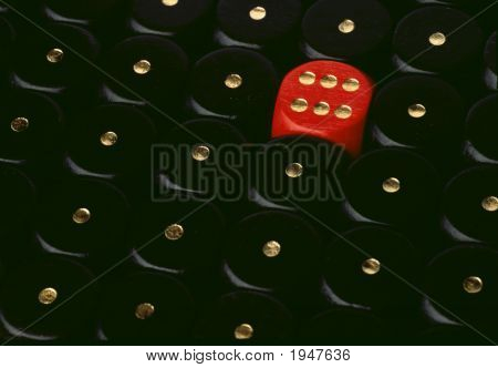 Red Dice Showing Six