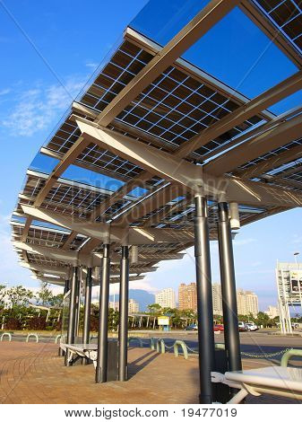 Solar power panel in park