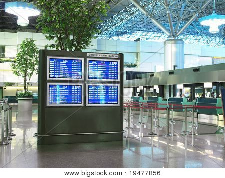 Flight schedule and check in counter in airport