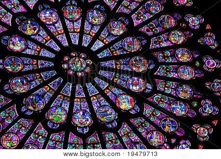 Stained-glass window of Notre Dame de Paris