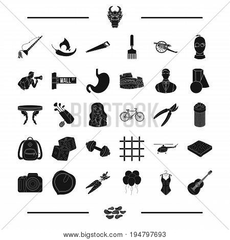 food, fitness, spices and other  icon in black style.sports, travel, crime, art icons in set collection.