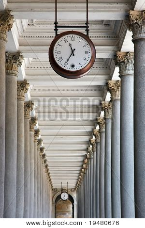 Clock and colonnade in Karlovy Vary, Czech Republic