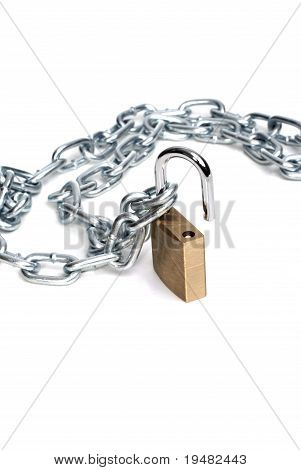 Open Padlock And Chain