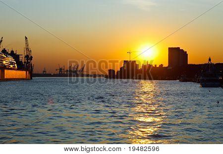 Sunset in port of Hamburg, Germany