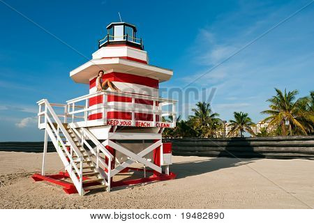 Lifeguard Stand In South Beach Miami, Florida