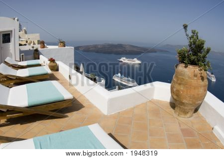 Villa View Of Greek Island Harbor