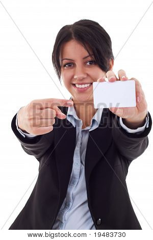 Smiling Young Woman Pointing At Blank Card