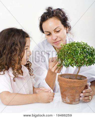 teacher pupil  and small potted tree