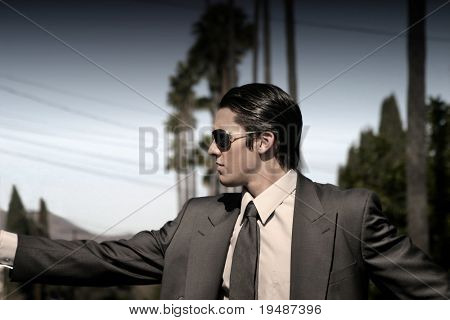 man in suit with sunglasses and palm trees in the background