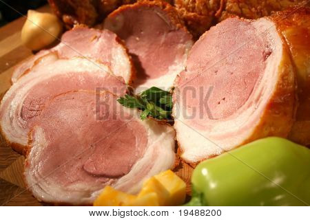 Gentle ham with green pepper and onion