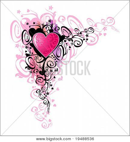 Heart of love. Vector Corner