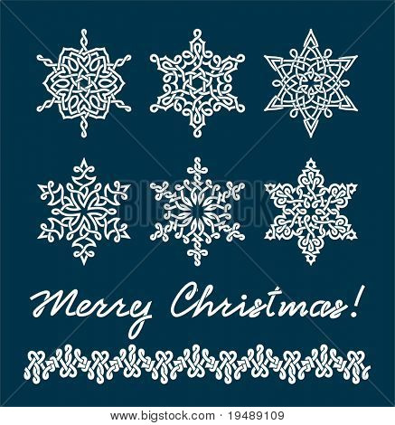 "Unique snowflakes with complex interlacings. The text "" Merry Christmas "" and border are executed in the same style"