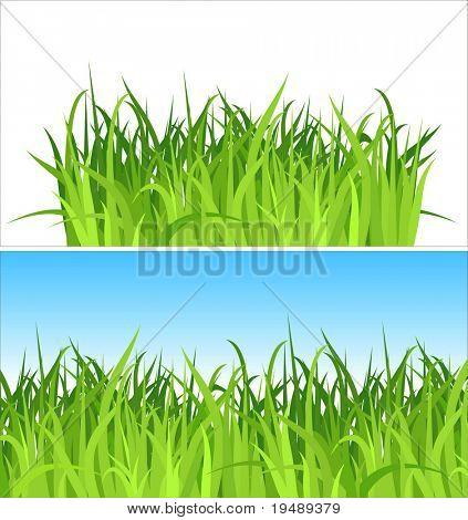 zwei Gras Hintergrund / Vektor / enthält die getrennten Schichten