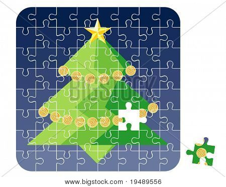 Puzzle Christmas Tree / vector illustration