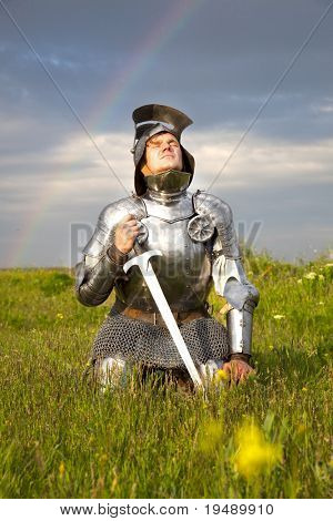 weary knight, after the battle / rain and real rainbow